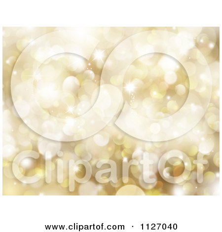 Clipart Of A Bokeh Christmas Background Of Golden Sparkles - Royalty Free CGI Illustration by KJ Pargeter