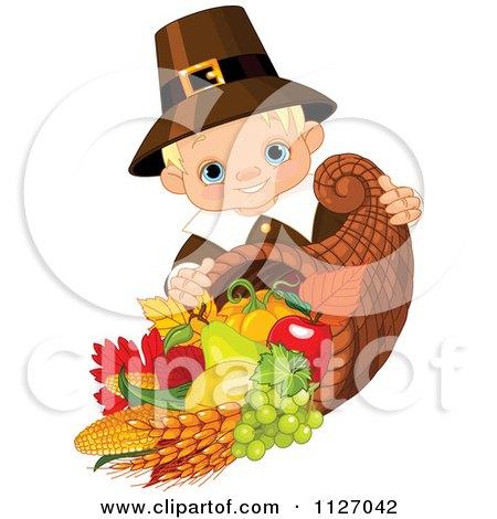 Cartoon Of A Cute Thanksgiving Pilgrim Boy With A Horn Of Plenty Cornucopia - Royalty Free Vector Clipart by Pushkin