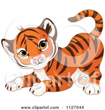 Cartoon Of A Frisky Tiger Cub In A Playful Stance - Royalty Free Vector Clipart by Pushkin