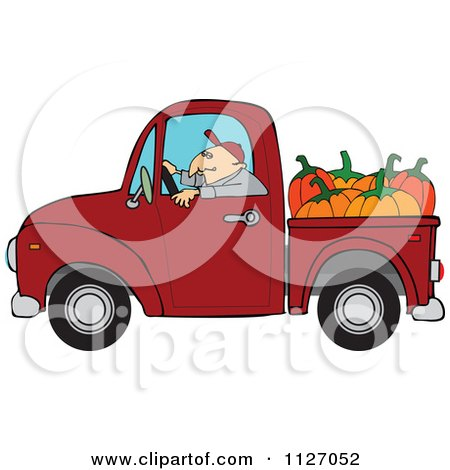 Cartoon Of A Farmer Driving A Truck With Pumpkins In The Bed - Royalty Free Vector Clipart by djart