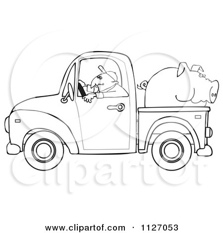 Cartoon Of An Outlined Farmer Driving A Truck With Pig In The Bed - Royalty Free Vector Clipart by djart