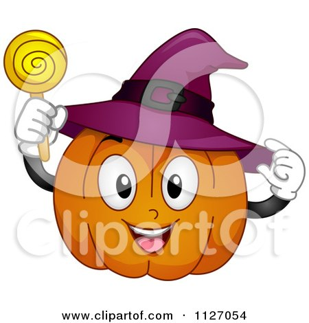 Cartoon Of A Happy Halloween Pumpkin With A Witch Hat And Sucker - Royalty Free Vector Clipart by BNP Design Studio