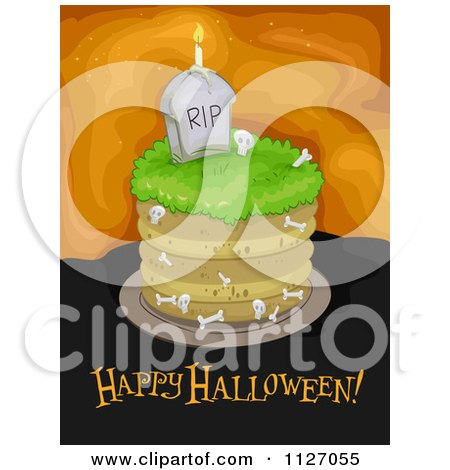Cartoon Of A Graveyard Cake With Happy Halloween Text - Royalty Free Vector Clipart by BNP Design Studio