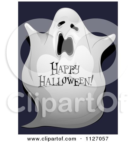 Cartoon Of A Spooky Ghost With Happy Halloween Text - Royalty Free Vector Clipart by BNP Design Studio
