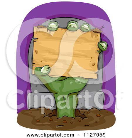 Cartoon Of A Zombie Hand Holding A Wood Sign In Front Of A Tombstone - Royalty Free Vector Clipart by BNP Design Studio