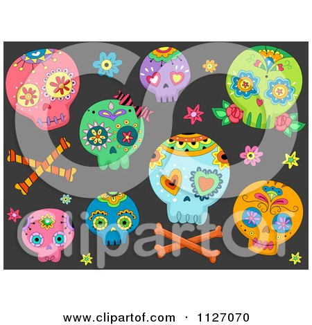 Cartoon Of A Seamless Pattern Of Colorful Sugar Skulls On Black - Royalty Free Vector Clipart by BNP Design Studio