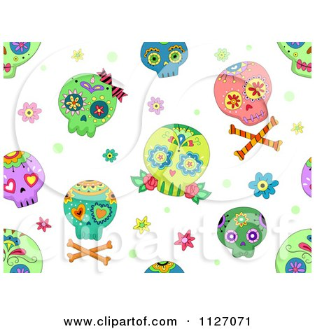 Cartoon Of A Seamless Pattern Of Colorful Sugar Skulls On White - Royalty Free Vector Clipart by BNP Design Studio