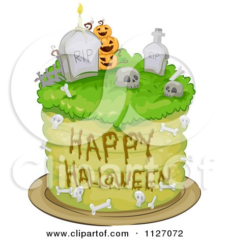 Cartoon Of A Happy Halloween Graveyard Cake - Royalty Free Vector Clipart by BNP Design Studio