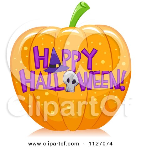 Cartoon Of A Pumpkin With Happy Halloween Text - Royalty Free Vector Clipart by BNP Design Studio
