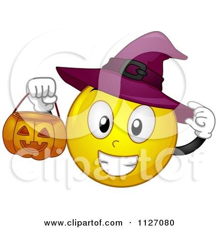 Cartoon of a halloween witch emoticon holding a pumpkin bucket