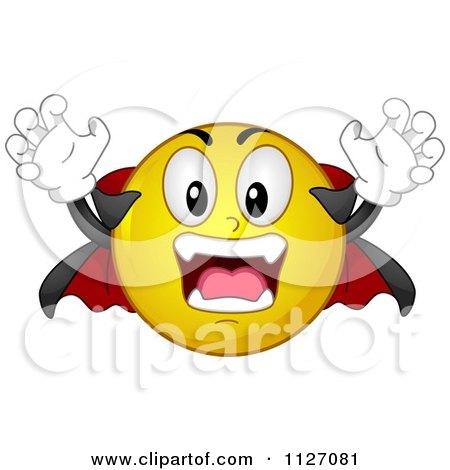 Cartoon Of A Halloween Vampire Emoticon - Royalty Free Vector Clipart by BNP Design Studio