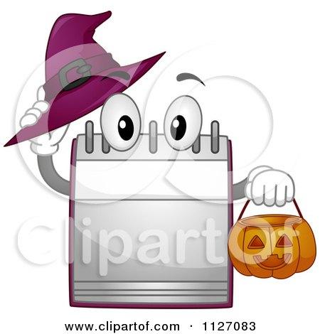 Cartoon Of A Calendar Mascot Holding A Halloween Pumpkin Basket And Witch Hat - Royalty Free Vector Clipart by BNP Design Studio