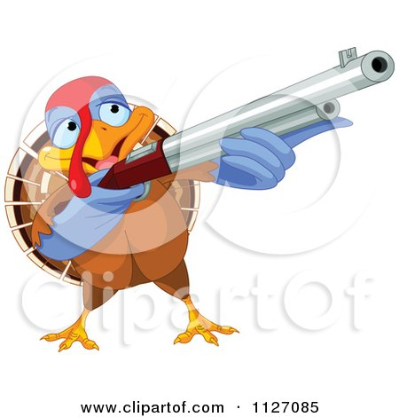 Cartoon Of A Thanksgiving Turkey Bird Shooting A Rifle - Royalty Free Vector Clipart by Pushkin