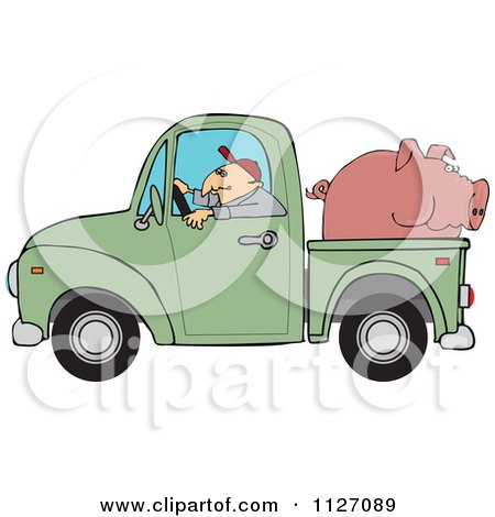 Cartoon Of A Farmer Driving A Truck With Pig In The Bed - Royalty Free Vector Clipart by djart