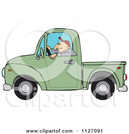 Cartoon Of A Worker Driving A Green Truck - Royalty Free Vector Clipart by djart