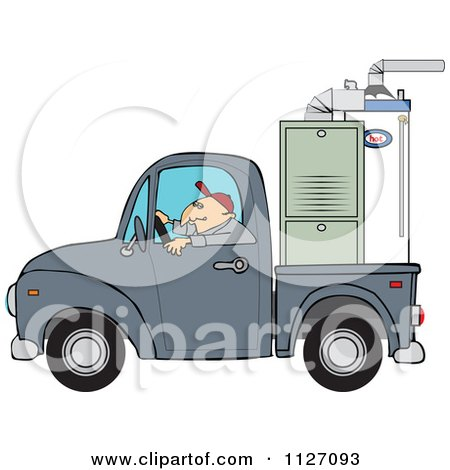 Cartoon Of A Worker Driving A Truck With A Furnace In The Bed - Royalty Free Vector Clipart by djart