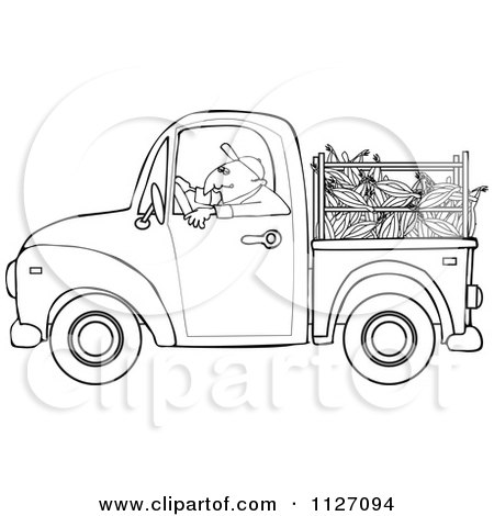 Cartoon Of An Outlined Farmer Driving A Truck With Corn In The Bed - Royalty Free Vector Clipart by djart