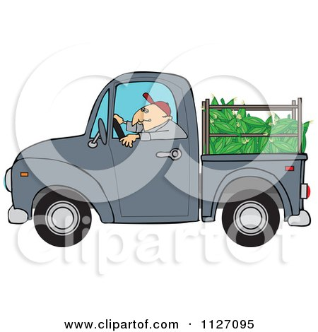 Cartoon Of A Farmer Driving A Truck With Corn In The Bed - Royalty Free Vector Clipart by djart