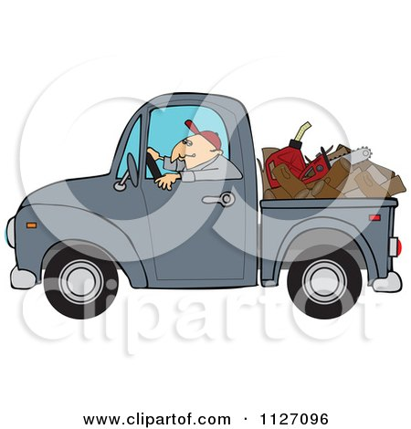 Cartoon Of A Worker Driving A Truck With Firewood Gasoline And A Saw In The Bed - Royalty Free Vector Clipart by djart