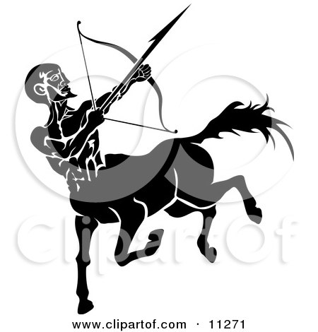 Sagittarius Centaur of the Zodiac Shooting an Arrow With a Bow Clipart Illustration by AtStockIllustration