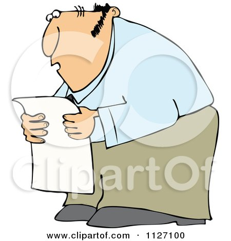 Cartoon Of A Chubby Man Reading A Newspaper In Shock - Royalty Free Vector Clipart by djart
