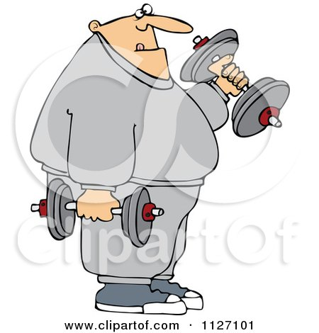Cartoon Of A Chubby Bald Man Lifting Weights - Royalty Free Vector Clipart by djart