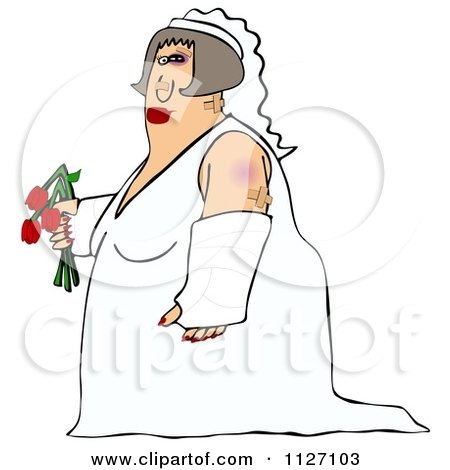 Cartoon Of A Battered Wife Bride With Bruises A Black Eye And Cast - Royalty Free Clipart by djart