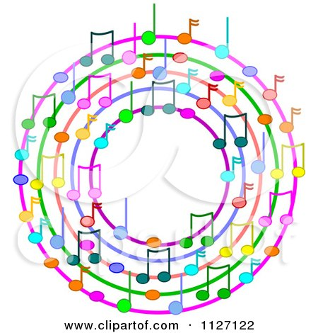 Cartoon Of A Ring Or Wreath Of Colorful Music Notes Royalty Free Vector Clipart