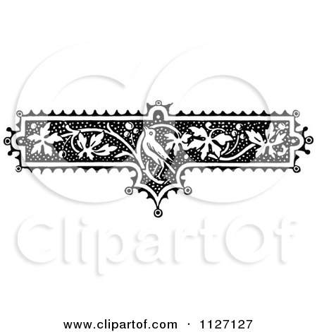 Clipart Of A Retro Vintage Black And White Floral Bird And Vine Border - Royalty Free Vector Illustration by Prawny Vintage