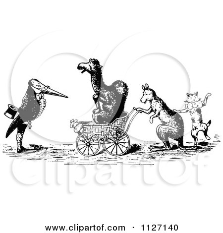 Clipart Of Retro Vintage Black And White Animals With A Carriage - Royalty Free Vector Illustration by Prawny Vintage