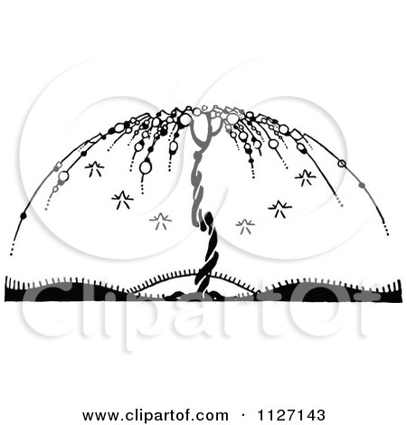 Clipart Of A Retro Vintage Black And White Bare Umbrella Tree - Royalty Free Vector Illustration by Prawny Vintage