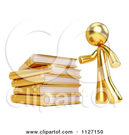 Clipart Of A 3d Gold Man And A Pile Of Books - Royalty Free CGI Illustration by Leo Blanchette
