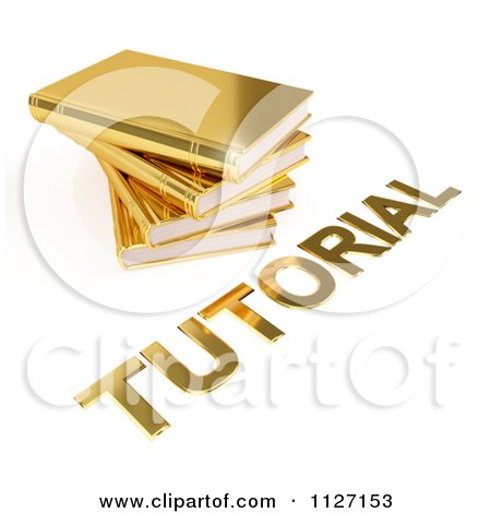 Clipart Of A 3d Pile Of Golden Books And Tutorial Text - Royalty Free CGI Illustration by Leo Blanchette
