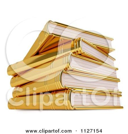 3d Pile Of Golden Books Posters, Art Prints