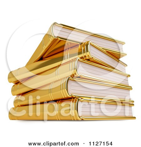 Clipart Of A 3d Pile Of Golden Books - Royalty Free CGI Illustration by Leo Blanchette