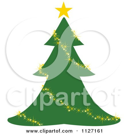 Clipart Of A Christmas Tree With A Glittery Gold Garland Or Lights - Royalty Free Vector Illustration by dero