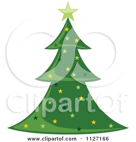 Clipart Of A Starry Christmas Tree - Royalty Free Vector Illustration by dero
