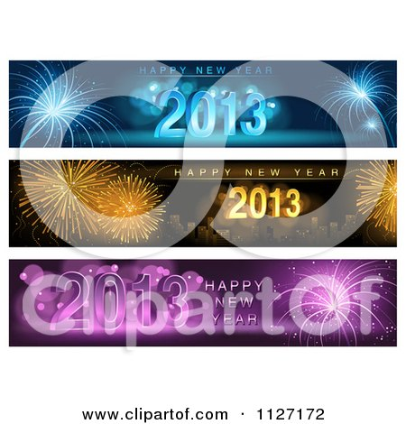 Clipart Of Firework Happy New Year 2013 Website Banners - Royalty Free Vector Illustration by dero