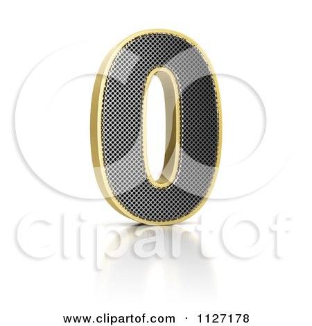 Clipart Of A 3d Gold Rimmed Perforated Metal Number 0 - Royalty Free CGI Illustration by stockillustrations