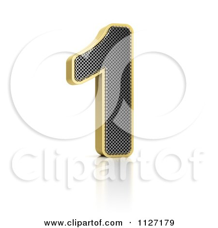 Clipart Of A 3d Gold Rimmed Perforated Metal Number 1 - Royalty Free CGI Illustration by stockillustrations
