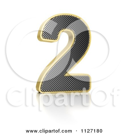 Clipart Of A 3d Gold Rimmed Perforated Metal Number 2 - Royalty Free CGI Illustration by stockillustrations