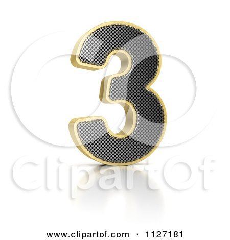 Clipart Of A 3d Gold Rimmed Perforated Metal Number 3 - Royalty Free CGI Illustration by stockillustrations