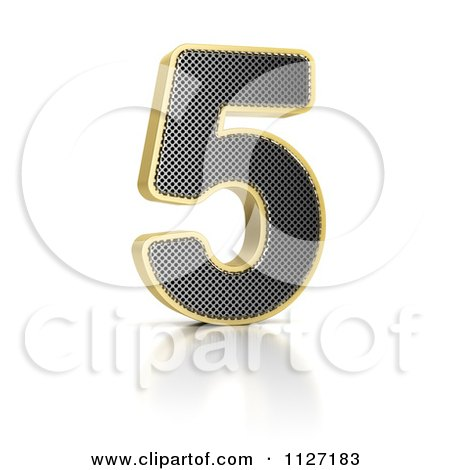 Clipart Of A 3d Gold Rimmed Perforated Metal Number 5 - Royalty Free CGI Illustration by stockillustrations