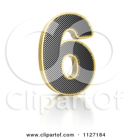 Clipart Of A 3d Gold Rimmed Perforated Metal Number 6 - Royalty Free CGI Illustration by stockillustrations