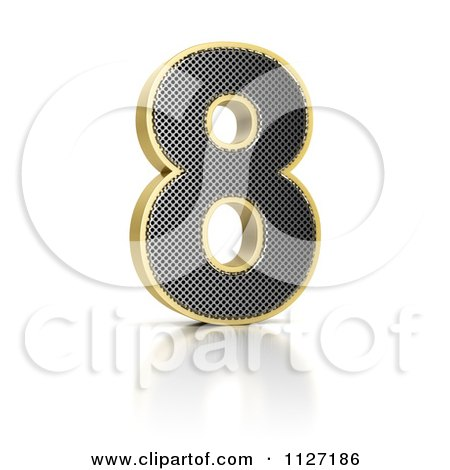 Clipart Of A 3d Gold Rimmed Perforated Metal Number 8 - Royalty Free CGI Illustration by stockillustrations