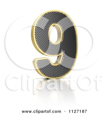 Clipart Of A 3d Gold Rimmed Perforated Metal Number 9 - Royalty Free CGI Illustration by stockillustrations