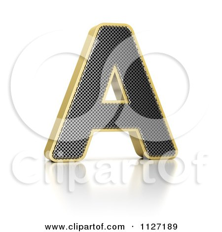 Clipart Of A 3d Gold Rimmed Perforated Metal Letter A - Royalty Free CGI Illustration by stockillustrations