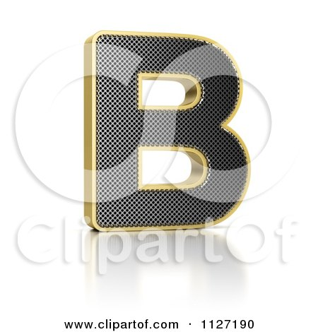 Clipart Of A 3d Gold Rimmed Perforated Metal Letter B - Royalty Free CGI Illustration by stockillustrations