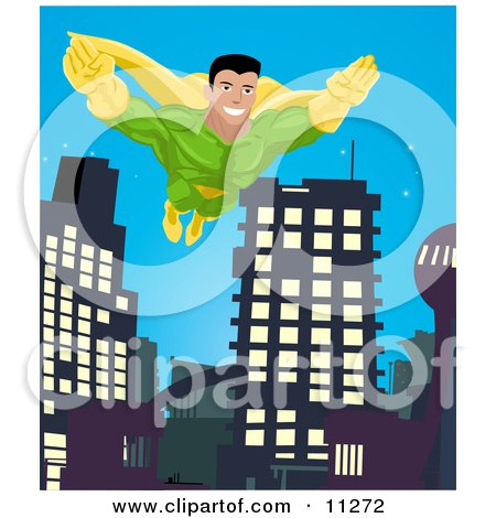 Super Hero Man to the Rescue, Flying Through a City Clipart Illustration by AtStockIllustration