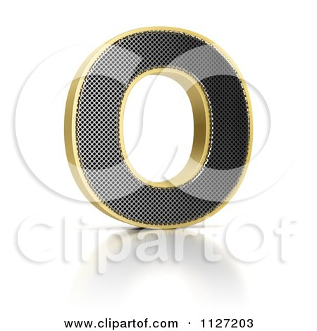 Clipart Of A 3d Gold Rimmed Perforated Metal Letter O - Royalty Free CGI Illustration by stockillustrations